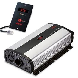 AEG 97120 Sinus-Spannungswandler SW 600 Watt, 12 Volt auf 230 Volt, mit LCD-Display, USB Ladebuchse, Fernsteuerungsmodul und Batteriewächterfunktion -
