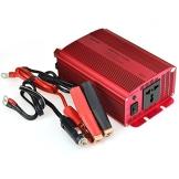 BESTEK® 600W Spannungswandler Wechselrichter DC 12V auf AC 230V Inverter mit Universal AC Buchse, inkl. Autobatterieclip & Kfz Zigarettenanzünder -