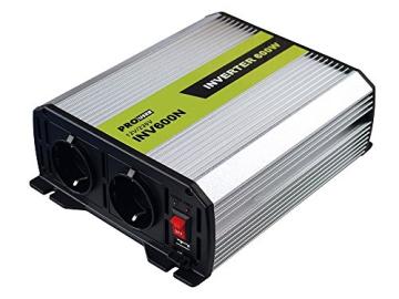 Pro User 16592 Spannungswandler 600 W, 12 auf 230 V, mit 2 Steckdosen -